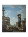 A Capriccio with Figures Among Roman Ruins Including the Arch of Constantine and the Pantheon