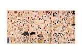 Cats from the Series Fifty-Three Stations of the Tokaido (Triptyc)  Ca 1848