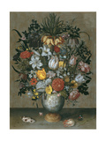 Chinese Vase with Flowers  Shells and Insects