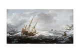 Ships in a Storm on a Rocky Coast  1614-1618