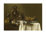 Still Life: Pewter  Silver Vessels and a Crab  Ca 1636