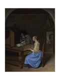 A Young Woman Playing a Harpsichord  C 1660