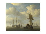 An English Vessel and Dutch Ships Becalmed  C 1660