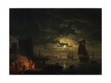 The Port of Palermo in the Moonlight  1769