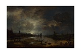 A River Near a Town  by Moonlight  C 1645