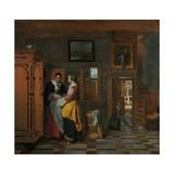 Interior with Women Beside a Linen Chest  1663
