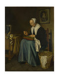 An Old Woman Seated Sewing  1655