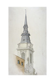 View of the Tower and Spire of St Martin Within Ludgate  City of London  1840