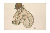 Crouching Nude Girl  1914