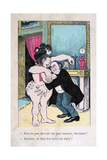 Doctor  Is This for Love or Duty  Vintage French Postcard  C1900