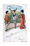 French Adultery Caricature Postcard  C1900