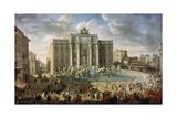 The Trevi Fountain in Rome (Pope Benidict XIV Visits the Trevi Fountain in Rom)  18th Century