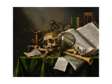 Vanitas  Still Life with Books  Manuscripts and a Skull