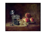 Still Life with a Basket of Peaches  White and Black Grapes  Cooler and Wineglass