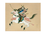 Samurai Warrior Riding a Horse, a Japanese Painting on Silk, in a Traditional Japanese Style Giclée