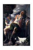 Saint Roch Comforted by an Angel Giclée par Carlo Saraceni