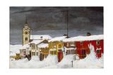 Street in Røros in Winter