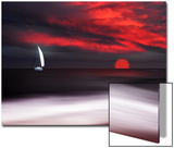 White Sailboat and Red Sunset Acrylique par Philippe Sainte-Laudy