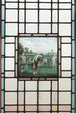 A Late Victorian Leaded Glass Window with the Golfers  C 1890