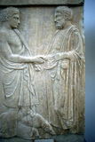 Relief Showing an Athenian Youth Greeting Older Man  5th Century Bc