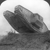 A Tank Breaking Through the Wire at Cambrai  France  World War I  C1917-C1918