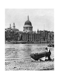 Thames Waterman and His Boat on the 'Beach' at Bankside  London  1926-1927