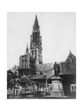 Antwerp Cathedral and Statue of the Artist Peter Paul Rubens  Belgium  1867