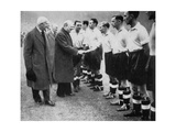 Winston Churchill Greets the England Football Team  Wembley  London  October 1941