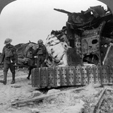 Casualties from the Front Pass Destroyed Tanks  Villers-Bretonneux  France  World War I  1918