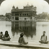 Fakirs at Amritsar  Looking South across the Sacred Tank to the Golden Temple  India  C1900s