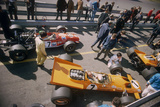 Denny Hulme's Mclaren Ford at the British Grand Prix  Silverstone  Northamptonshire  1969