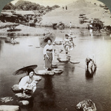Women Crossing the Lake on Stepping Stones  Suizen-Ji Garden  Kumamoto  Japan  1904