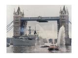 View of HMS London Sailing Beneath Tower Bridge  London  1988