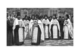 Monks of the Greek Church Carrying Volumes of the Liturgy  Greece  1922