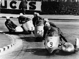 Fritz Scheidegger  Walter Schneider and Helmut Fath Competing in a Sidecar Race  1959
