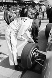 Technician Checking Tyre Wear  Indianapolis  Indiana  USA  1965
