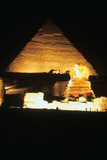 Pyramid of Khafre and the Great Sphinx at Night  Gizeh  Egypt