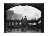 A Man and a Boy Feeding the Birds by Blackfriars Bridge  London  1926-1927