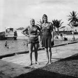 Two Women in Swimsuits Beside a Swimming Pool  Balboa  Panama  1931