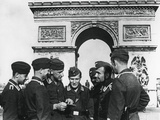 Occupying German Troops at the Arc De Triomphe  Paris  June 1940