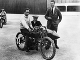 Dh Davidson on a Flat Twin Harley-Davidson  Brooklands  Surrey  1920
