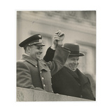 The Cosmonaut Yuri Gagarin and Nikita Khrushchev on Lenin's Mausoleum Tribune