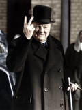 Winston Churchill Making His Famous V for Victory Sign  1942