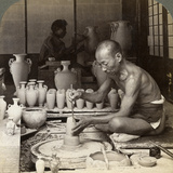 A Potter and His Wheel  Fashioning a Vase of Awata Porcelain  Kinkosan Works  Kyoto  Japan  1904