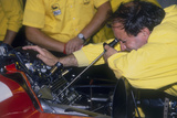 Mechanic at Work in the Ferrari Pits  1988
