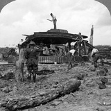 Engineers Clearing a Destroyed Tank from a Road  World War I  1917-1918