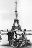 German Soldiers in Front of the Eiffel Tower  Paris  1940