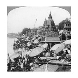 A Temple and Ghats on the Ganges at Benares (Varanas)  India  1900s