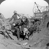 Carrying a Wounded Soldier to a First Aid Post  Passchendaele  Belgium  World War I  1914-1918