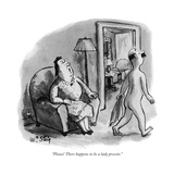 """""""Please! There happens to be a lady present"""" - New Yorker Cartoon"""